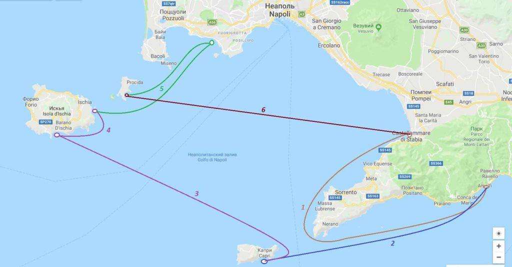 Неаполитанский залив карта
